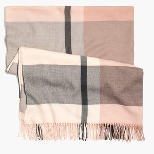 NWT! J Crew Blush Plaid Blanket Scarf!